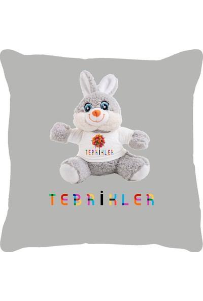 Özgüner 100 cm Pembe Bobo Tebrikler Tavşan Yastık