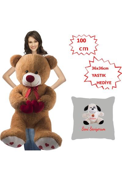 Özgüner 100 cm Kahve Bobo Seni Seviyorum Köpek Yastık