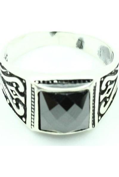 Siyah Oniks Taşlı Erkek Yüzük Oksitli Gümüş Erkek Yüzüğü Model Bay Eyz-70