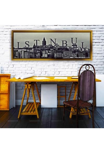 Dekorme Altın Çerçeveli Istanbul Kanvas Ablo