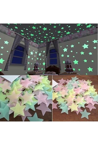 GOB2C 100 Adet Gece Parlayan Yıldız Sticker