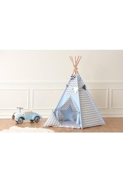 Çağan Tekstil Lüks Büyük Boy Oyun Çadırı (Kızılderili Çadırı) Gri - Mavi