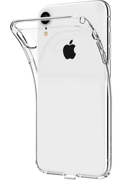 Aktif Aksesuar iPhone Xr Şeffaf Silikon Kılıf Ultra Ince Lens Korumalı Tıpalı