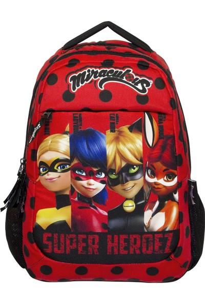 Ümit Çanta Miraculous Ladybug Süper Heroes Kırmızı Üç Bölme Ilkokul Çanta - Kız Çocuk