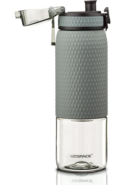 Uzspace Gri Su Şişesi - Uzspace 500 ml Silikon Kaplı Detoks Matara/suluk