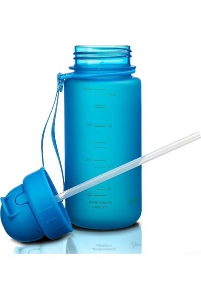 Uzspace 400 ml Tritan Mavi Çocuk Matarası - Silikon Pipet Ağızlık