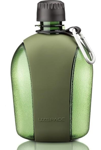 Uzspace 950 ml Yeşil Büyük Outdoor Su Matarası - Silikon Kaplı Gövde
