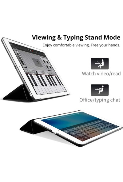 "EssLeena Apple iPad Air 1-5.Nesil-6.Nesil 9.7"" (A1474/A1475/A1476/A1822/A1823/A1893/A1954) Smart Case Tablet Kılıfı Siyah"