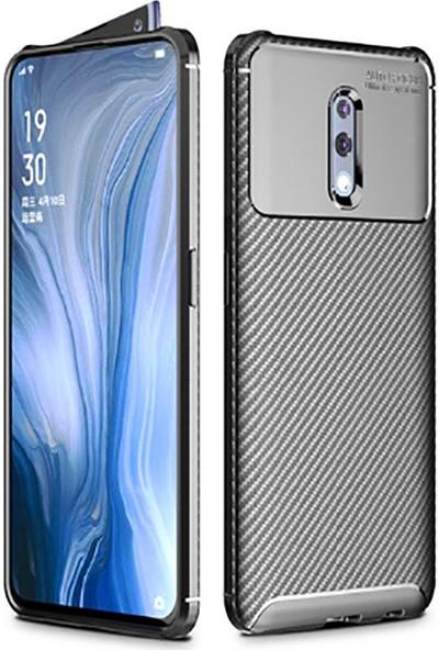 Happyshop OPPO Reno Kılıf Karbon Desenli Lux Negro Silikon + Cam Ekran Koruyucu