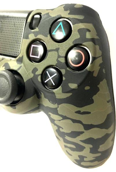 Ps4 Dualshock 4 Silikon Kılıf - Yeşil Askeri Desenli