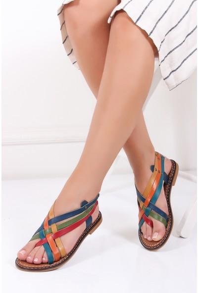 Tarçın Hakiki Deri Multi-1 Günlük Kadın Sandalet Ayakkabı Trc128-0808