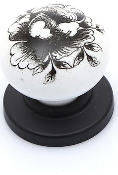 Enfute Burgu Porselen Kulp Görünümlü Kulp Akrilik Mat Siyah Düğme
