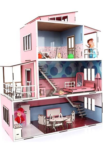 CC Oyuncak Ahşap Mobilyalı Çocuk Oyun Evi