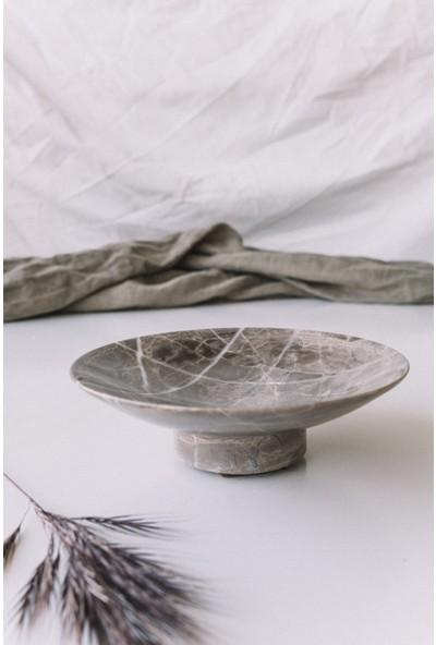 Konstantin Kahverengi Mermer Sunum Tabağı