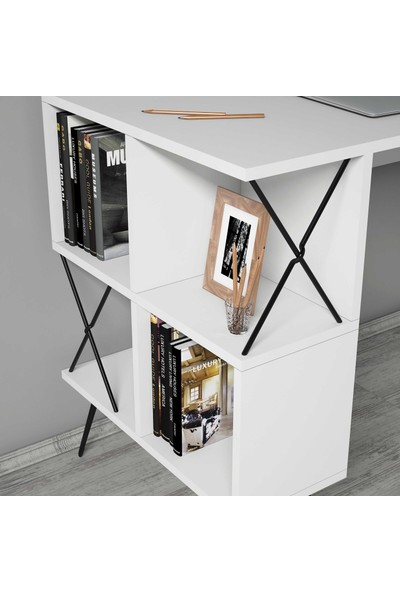 Variant Extra Duvar Raflı Çalışma Masası - Beyaz