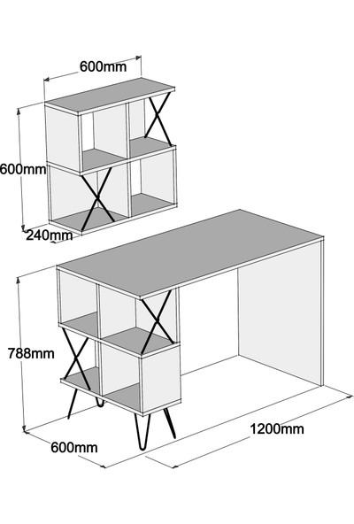 Variant Extra Duvar Raflı Çalışma Masası - Krem