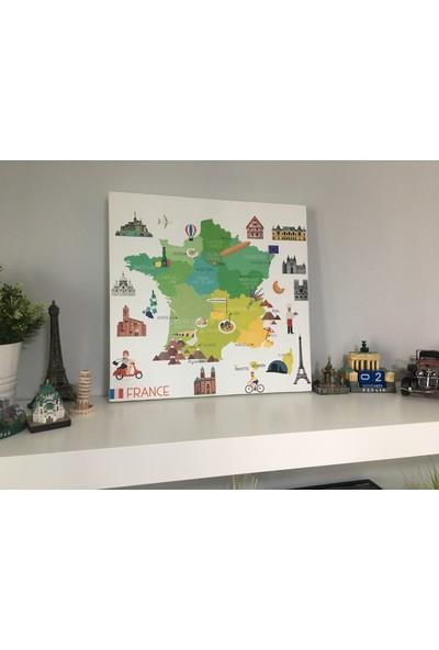 Mapofx Kanvas Fransa Haritası Illüstrasyon