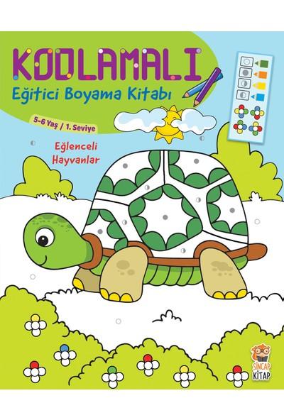 Kodlamalı Eğitici Boyama Kitabı - Eğlenceli Hayvanlar (5-6 Yaş / 1. Seviye