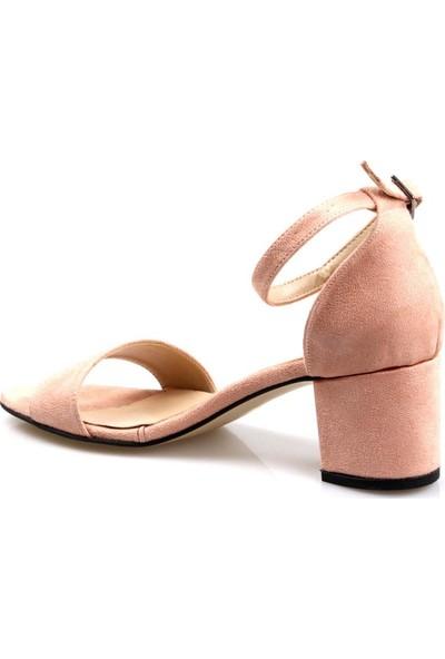 Gizsah Gizzah Kadın Tekbant Kısa Topuklu Pudra Süvet Ayakkabı