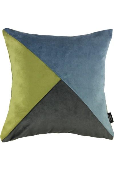 Mcalister Textiles Diagonal Patchwork Kadife Yastık Kılıfı | Petrol Mavisi, Limon Yeşili + Koyu Gri Dekoratif Kare Kırlent 60 x 60 cm