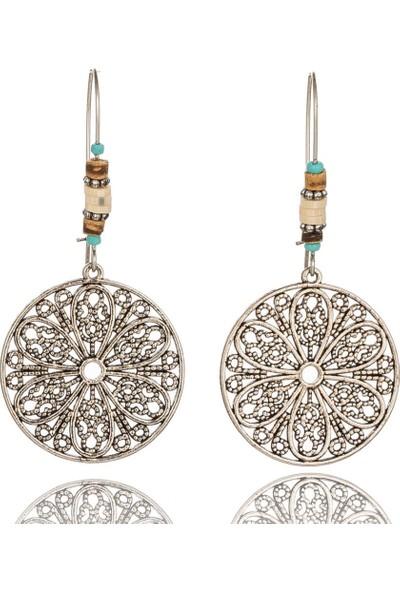 VipBT Antik Gümüş Renk Çiçek Etnik Küpe