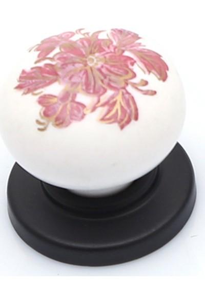 Enfute Porselen Kulp Görünümlü Akrilik Mat Siyah Pembe Düğme