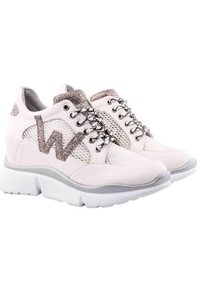 Vingi Beyaz Dolgu Topuklu Kadın Sneaker Ayakkabı