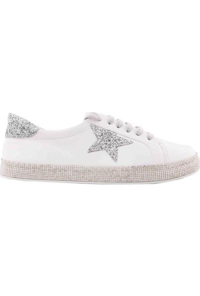 Vingi Beyaz Taş İşlemeli Spor Kadın Ayakkabısı