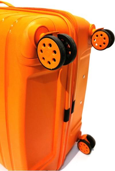 EHS 2li Valiz Seti Kırılmaz Valiz Büyük Boy ve Kabin Boy Turuncu 2li Set