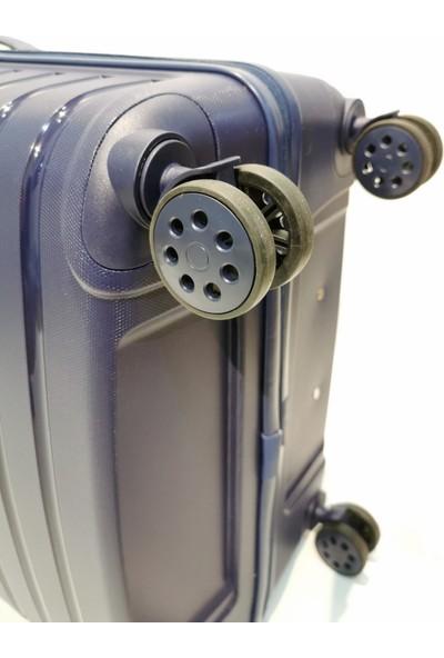 EHS Orta Boy Kırılmaz Valiz 4 Tekerlekli Lacivert Valiz