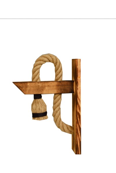 Retro Ahşap Halat Apli̇k Duvar Lambasi Aydinlatma