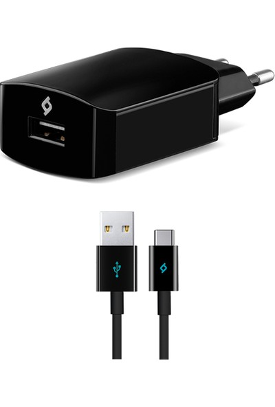 TTec Speedcharger Seyahat 2.1A Hızlı Şarj Aleti Siyah + Type C Kablo