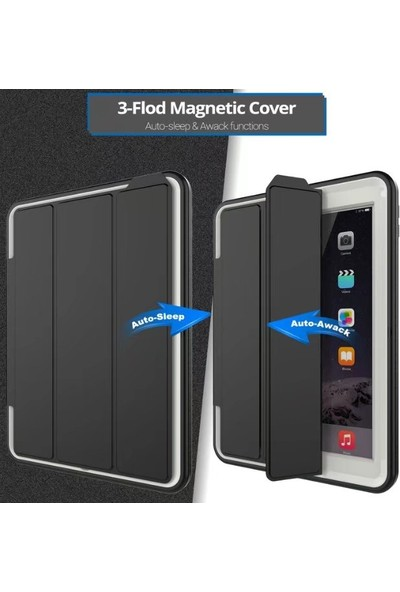 Fujimax ipad 6. Nesil 9.7 2018 A1893 A19547 Seri Smart Kapaklı Zırh Özellikli Defender Kılıf-Ekran Koruyuculu