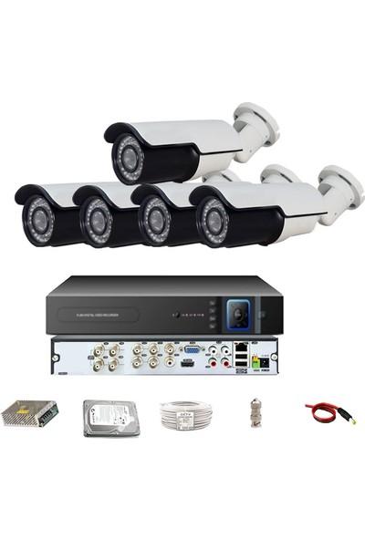 QROMAX PRO 742SB 5' li 5 Megapiksel SONY LENS 1080P Aptina Sensör Metal Kasa Güvenlik Kamerası Seti