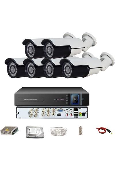 QROMAX PRO 742SB 6' lı 5 Megapiksel SONY LENS 1080P Aptina Sensör Metal Kasa Güvenlik Kamerası Seti