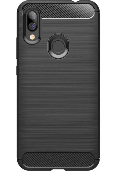 Microcase Xiaomi Redmi Y3 Brushed Carbon Fiber Silikon Kılıf - Siyah