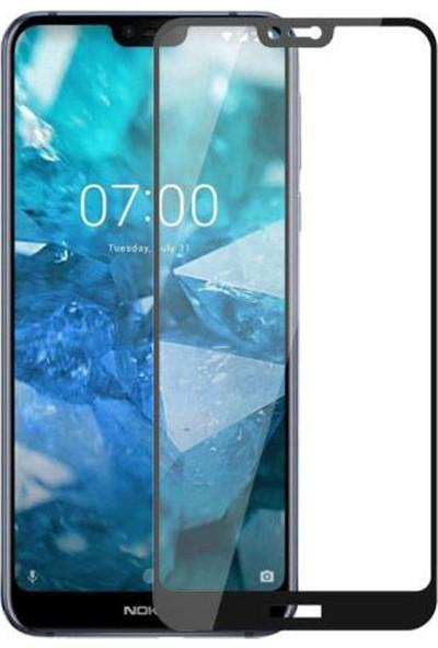 Microcase Nokia 7.1 Tam Kaplayan Çerçeveli Tempered Ekran Koruyucu - Siyah
