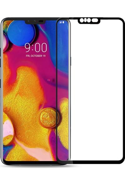 Microcase LG V40 Thinq Tam Kaplayan Çerçeveli Tempered Ekran Koruyucu - Siyah