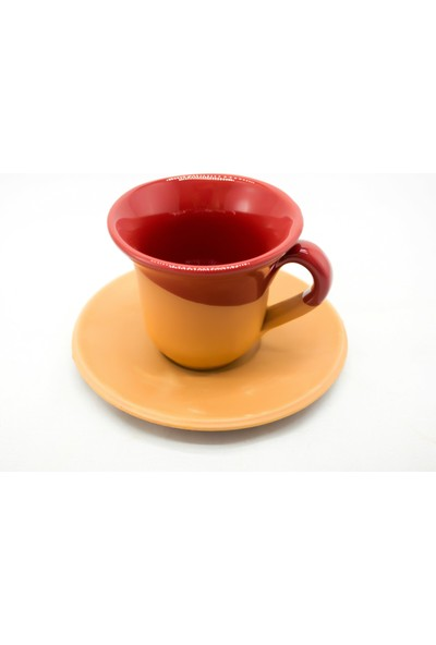 Doğa Çömlekçilik Toprak Kahve Fincanı - Kırmızı