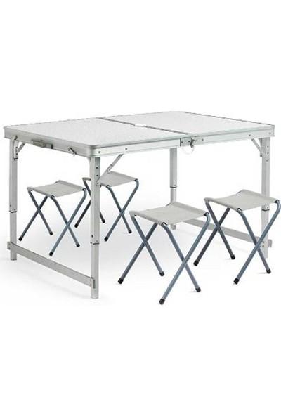 Funky Chairs Katlanabilir Piknik Masası Seti Kalın Profil Gri