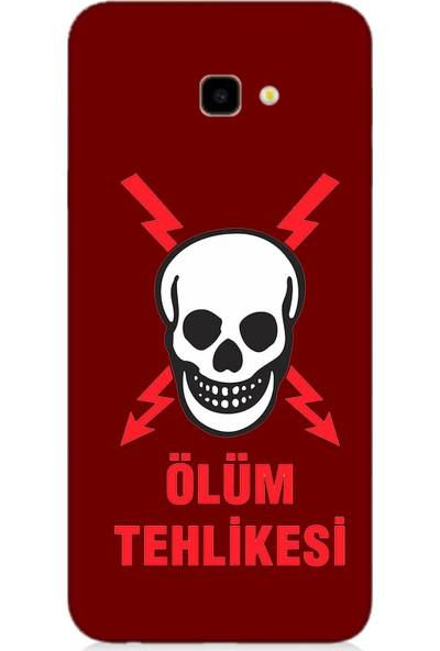 Teknomeg Samsung Galaxy J4 Plus Bordo Ruber Kapak Kılıf Ölüm Tehlikesi