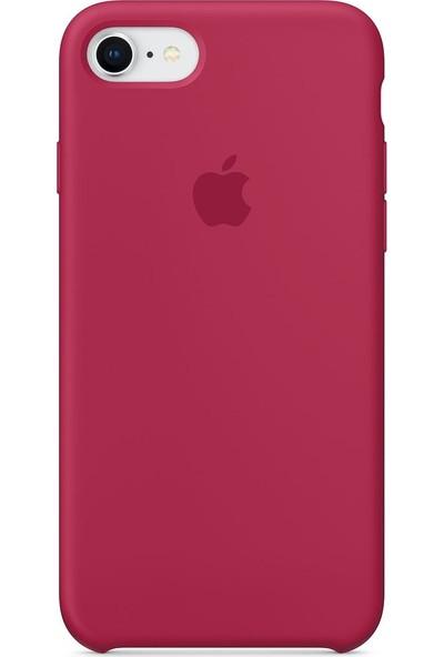 Daytona Apple iPhone 7/8 Kamelya (Camellia) Silikon Kılıf Kauçuk Arka Kapak Gül Kırmızısı