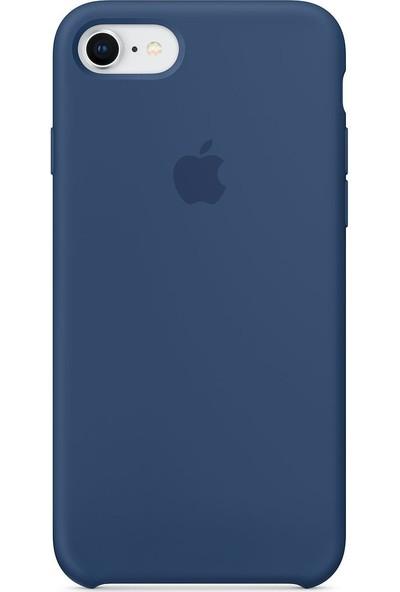 Daytona Apple iPhone 7/8 Kamelya (Camellia) Silikon Kılıf Kauçuk Arka Kapak Mavi