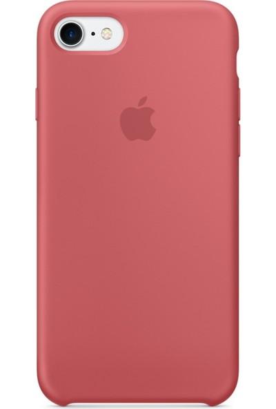 Daytona Apple iPhone 7/8 Kamelya (Camellia) Silikon Kılıf Kauçuk Arka Kapak Kamelya Kırmızısı