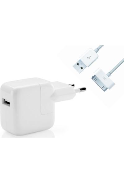 Daytona Tek Girişli Apple iPad 1-2-3-4 Şarj Adaptörü + Kablo (Oem)