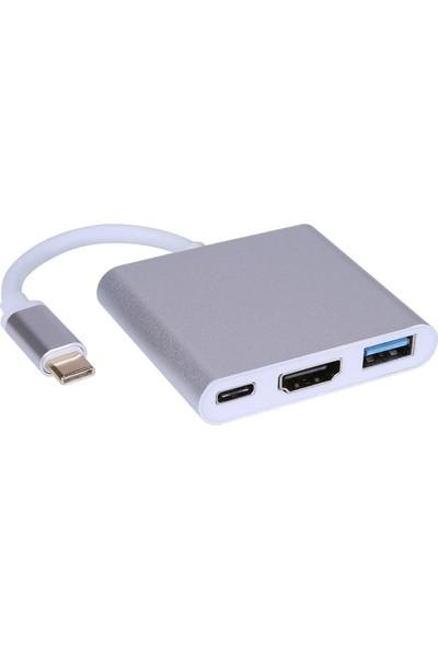 Daytona Macbook Uyumlu 4K Type C To 3 Portlu HDMI - USB - Type-C Çevirici Adaptör