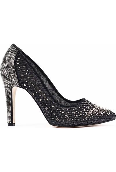 Nellson Jackson Lucellum Platin Camtaş Stiletto Model Taşlı Kadın Abiye Ayakkabı