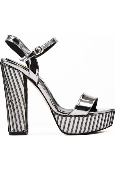 Nellson Jackson Mirum Platin Taşlı Yüksek Topuk Bantlı Kadın Abiye Ayakkabı