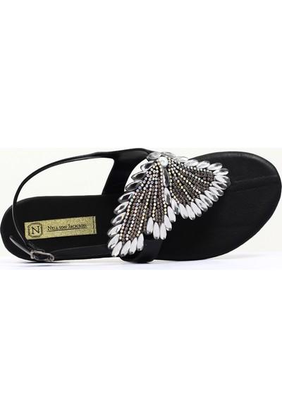 Nellson Jackson Papilio Siyah Kelebek Taşlı Yazlık Deri Parmak Arası Sandalet