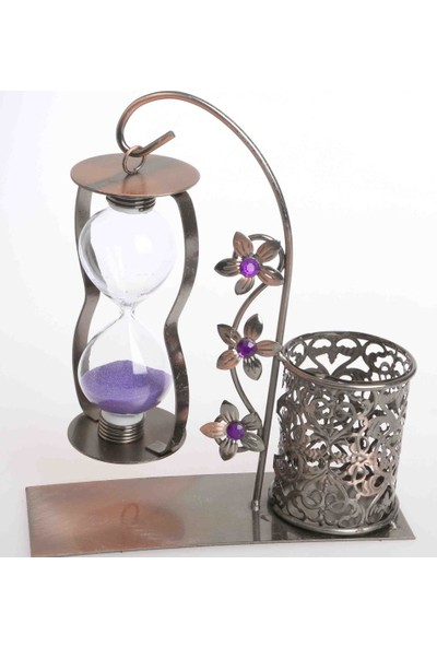 Sağlam Dekoratif Metal Kum Saati Kalemlikli